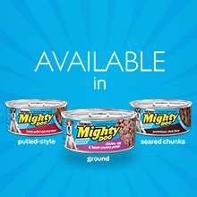 Mighty dog wet dog food available in pulled style, ground or seared chunks