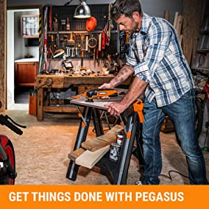 WORX Pegasus Multi-Function Work Table and Sawhorse with Quick Clamps and Holding Pegs – WX051 16