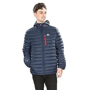 blue hooded jacket; male blue jacket; dark blue down jacket; packaway down jacket; foldable jacket
