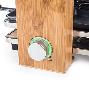 Zoom sur le thermostat à anneau lumineux de l'appareil à raclette Princess 162900