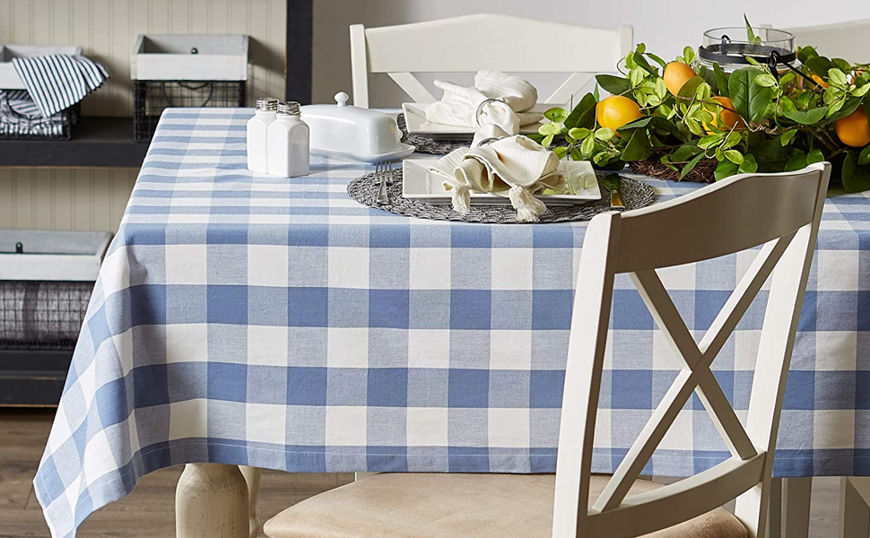 Blue Buffalo Check Tablecloth with Place Setting