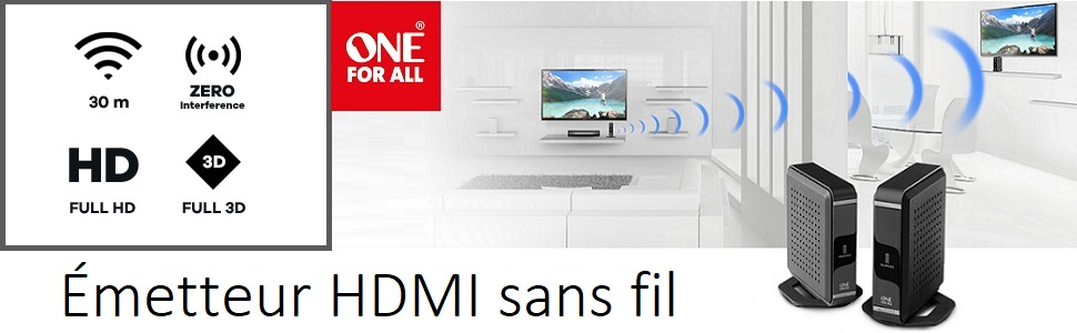 Émetteur HDMI sans fil, one for all , Transmission Emission du signal Full HD, AV Sender
