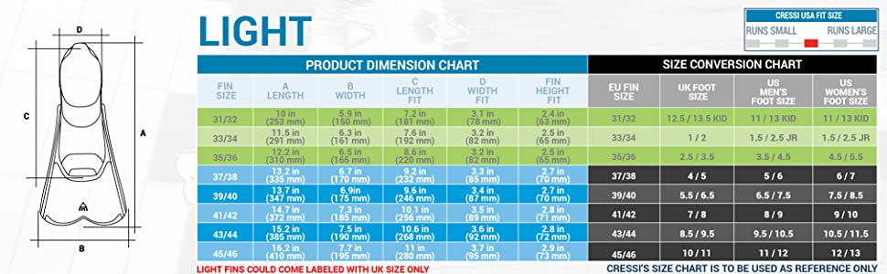 cressi light dimension chart size chart