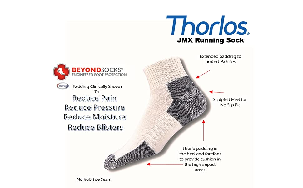 Shoe Size 13-15 X-Large Thorlos/Mens/Running Thick Padded Ankle White//Navy Low Cut Socks JMX