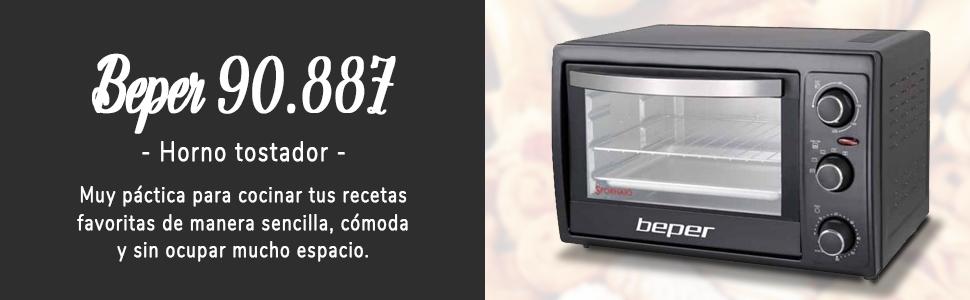 BEPER 90.887 Horno Tostador, 2000 W, 55 litros, Negro: Amazon ...