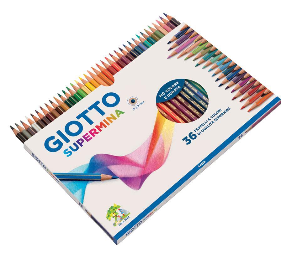 pastelli legno GIOTTO colori a matita natura da 36 per bambini scuola colorare