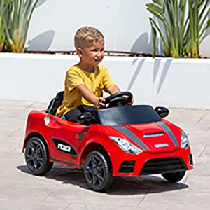 800012461 red 6 Imaginary Role Play Functions with Accessories Feber My Real Car /— Electric Car Ride On for Boys and Girls Age 3 to 5 Years Old 6V Battery Powered Toy