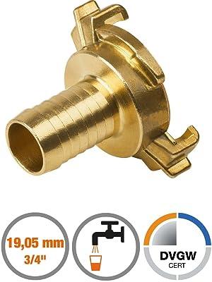 Schlauchstutzen-Schlauchstück mit DVGW Trinkw 19 mm Schnellkupplung 3//4 Zoll