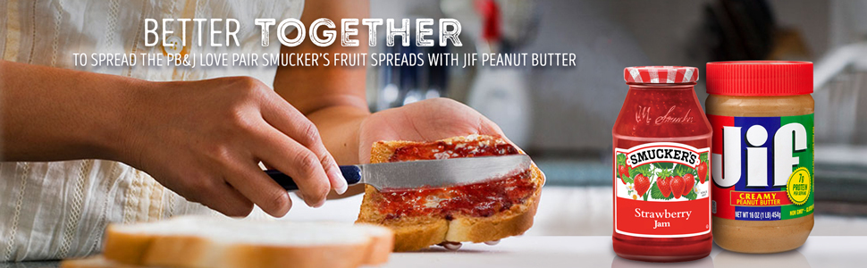Showing PB and J love by spreading Smucker's Strawberry Jam amp; Jif Peanut Butter on bread