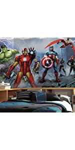 Roommates rmk2240gm avengers assemble personalization for Avengers wall mural amazon