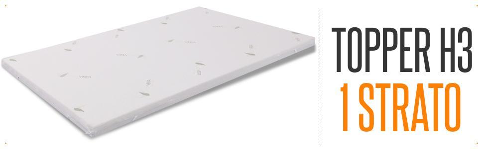 alla Francese MiaSuite Topper H3 Correttore per Materasso con Rivestimento Sfoderabile 150x190x3 cm Beige Memory Foam