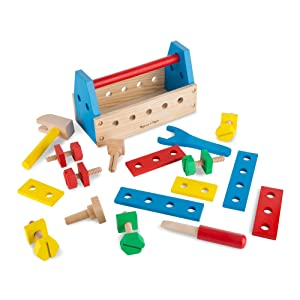 Melissa Doug Take Along Tool Kit Wooden Construction Toy 24 Pcs