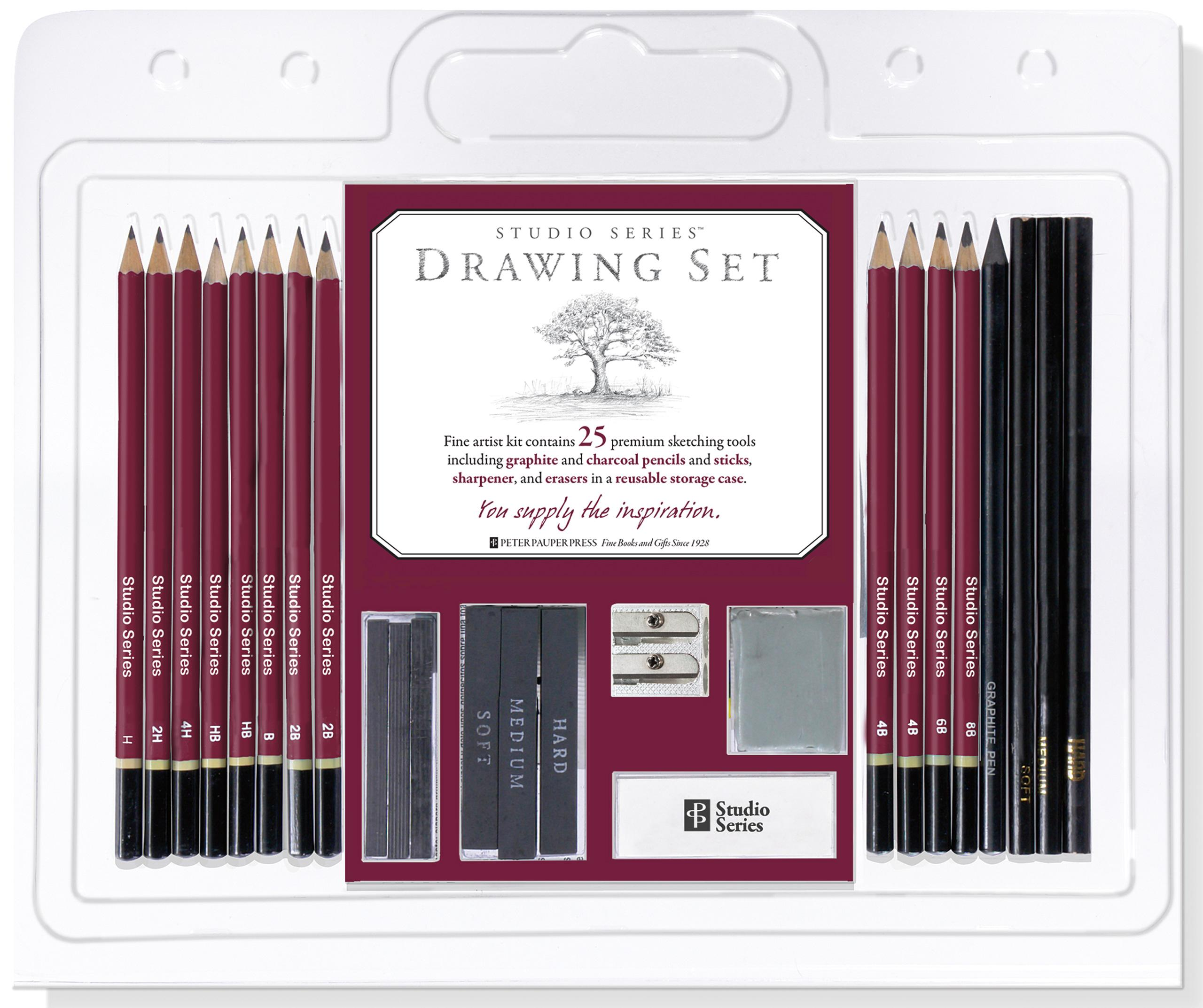 Charcoal Pencil Drawing Sketching Sketch Set Kit Artist Art Tools Graphite Case