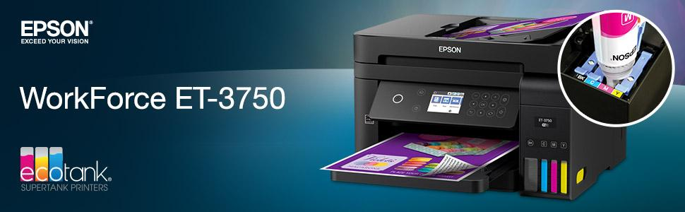 Epson WorkForce ET-3750 EcoTank Wireless Color All-in-One Supertank Printer with Scanner, Copier and Ethernet