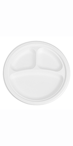 """9"""" Bagasse Round Plate, 3-Compartment"""
