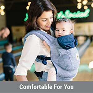 Ergobaby Original Award Winning Ergonomic Multi-Position Baby Carrier with X-Large Storage Pocket, Marine