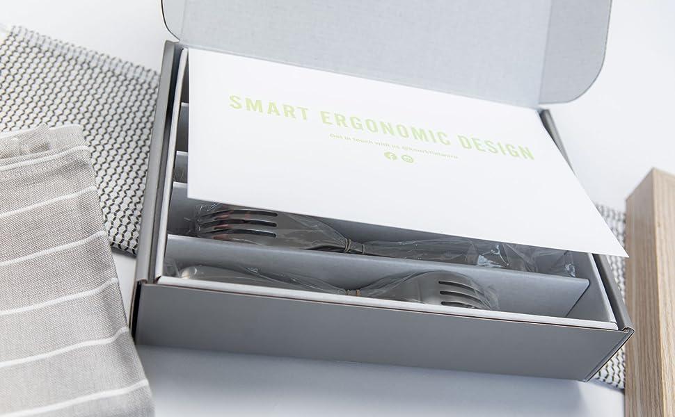 smart ergonomic design flatware stainless cutlery silverware forks fork knife knives flatware set