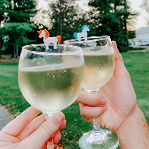 fred. fred amp; friends, unicorn, drink marker, wine charm, wine, party, silicone, patio