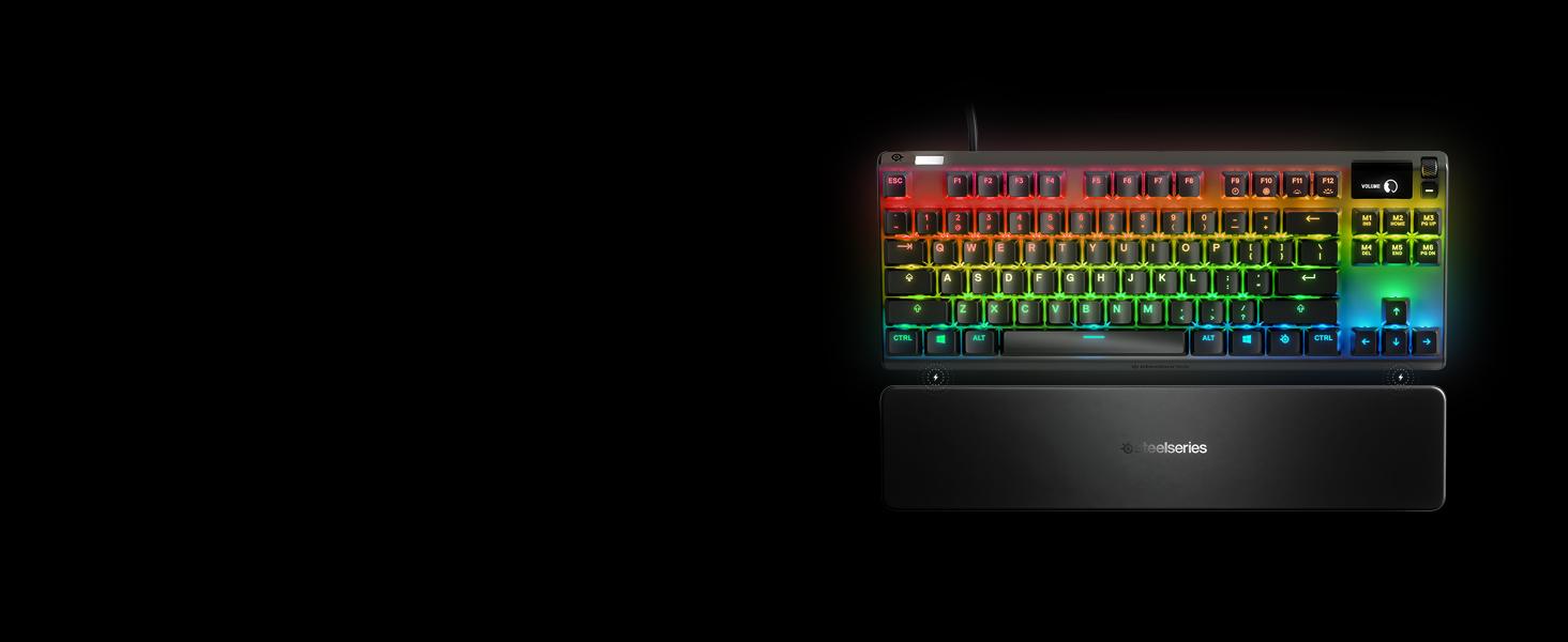 SteelSeries Apex 7 TKL - Teclado mecánico para Gaming, Compacto, Smart Display OLED, Interruptores Rojo, Teclado QWERTY Americano (US)