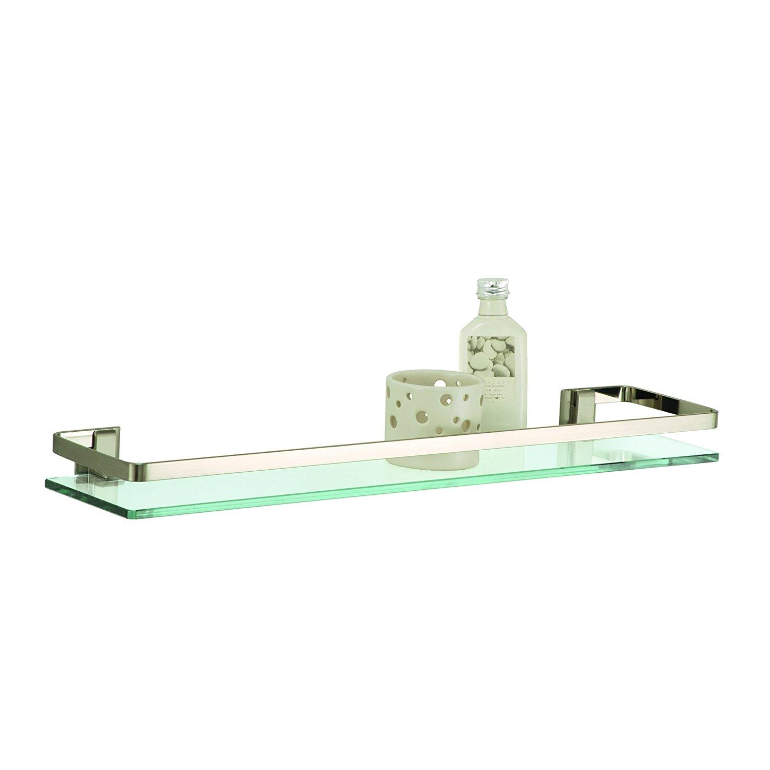 Wall Mounting Glass Shelf With Nickle Finish And Rail