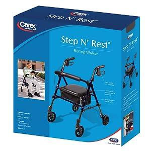 Amazon.com: Carex Step N Rest - Caminero de aluminio con ...