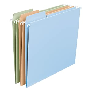 Smead FasTab hanging file folders with built-in tabs, letter size, multiple colors available
