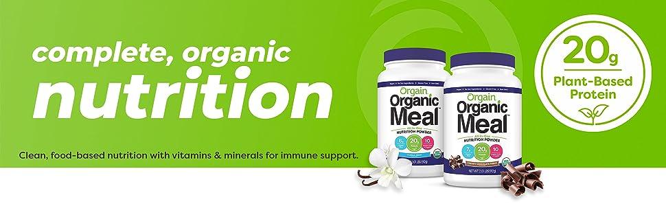 orgain organic meal replacement powder vegan chocolate