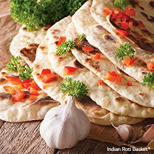 Indian Roti Basket; delicious Naans, Lachcha Paranthas, Tandoori Rotis,Missi Rotis