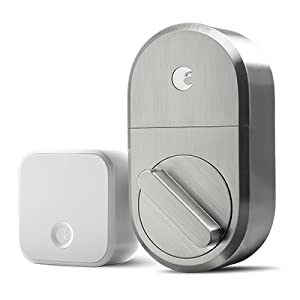 August smart lock and connect, august smart lock, smart lock, satin nickel hardware,