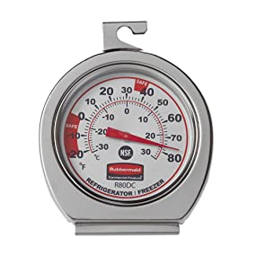 Rubbermaid Commercial Products Stainless Steel Refrigerator/Freezer Thermometer
