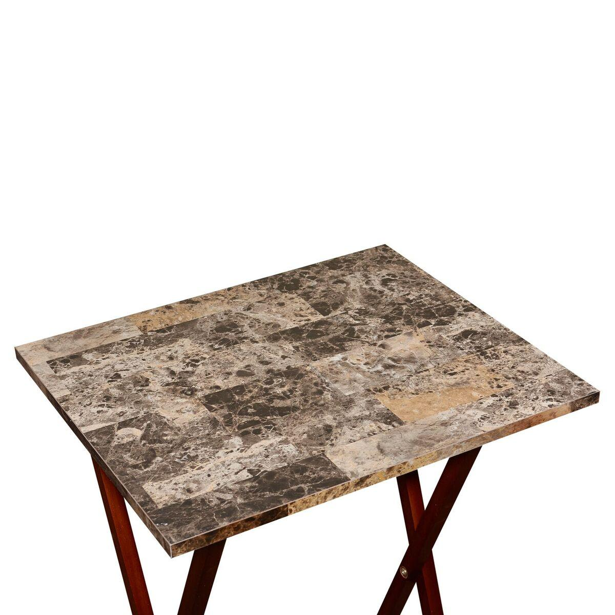 linon home decor tray table set faux marble linon home decor tray table set faux marble 13720