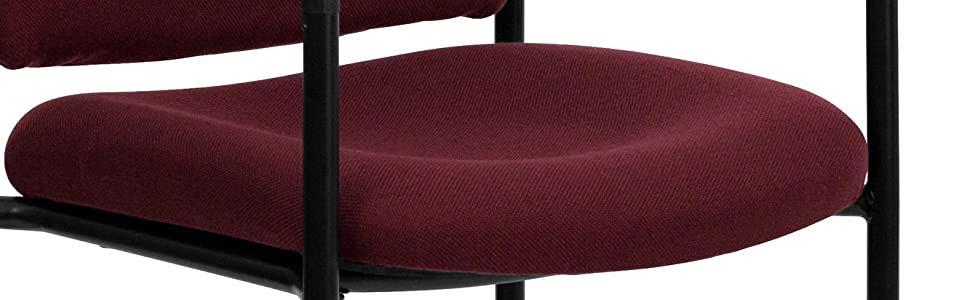 Burgundy FabricComfortable Stackable Steel Side Chair with Arms [BT-516-1-BY-GG]