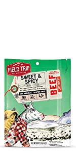 field trip sweet & spicy beef jerky gluten free all natural grass fed