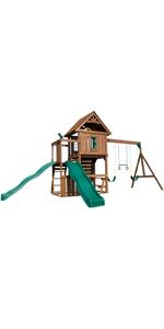 Monteagle, WS 8344, swing set for kids, swing sewt with slide, wooden swing set