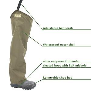 Frogg Toggs Brush Hogg Heavy-Duty Nylon Bootfoot Hip Wader