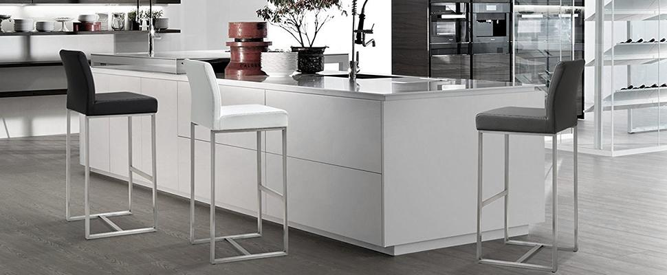 Tov Furniture The Denmark Collection Stainless Steel Metal Leather Upholstered: home bar furniture amazon