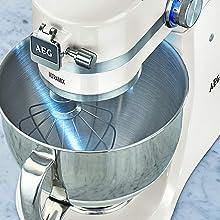AEG KM4100 Robot de Cocina con Bol Batidora, Amasadora, Apta para Lavavajillas, Dos Boles ,10 Velocidades, Iluminación LED, Múltiples Varillas, 1000 W, 2.9L y 4.8L ...
