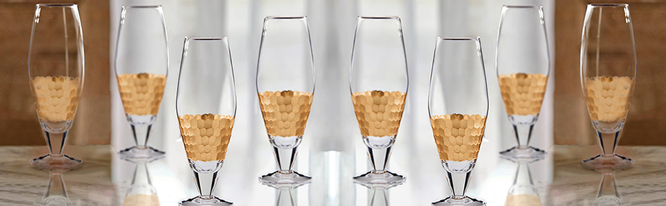 Gold Fitz /& Floyd 229705-4SW Daphne Wine Glasses