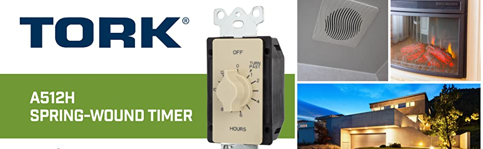 A512H Spring wound timer, Tork, In-wall, automatic shut off, for fan and lights, NSI