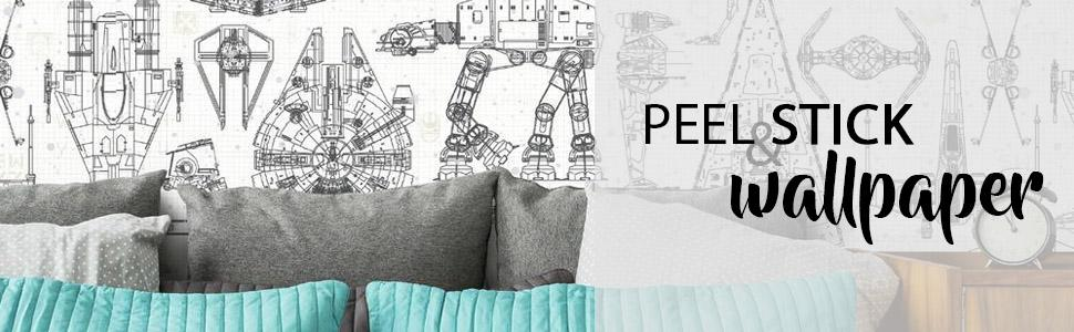 Roommates Star Wars Blueprint Peel And Stick Wallpaper Amazon Sg Home Improvement