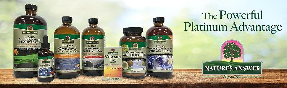 Liquid, platinum, Advantage, B-12, vitamins, omega-3, coconut oil, glucosamine, cod liver oil