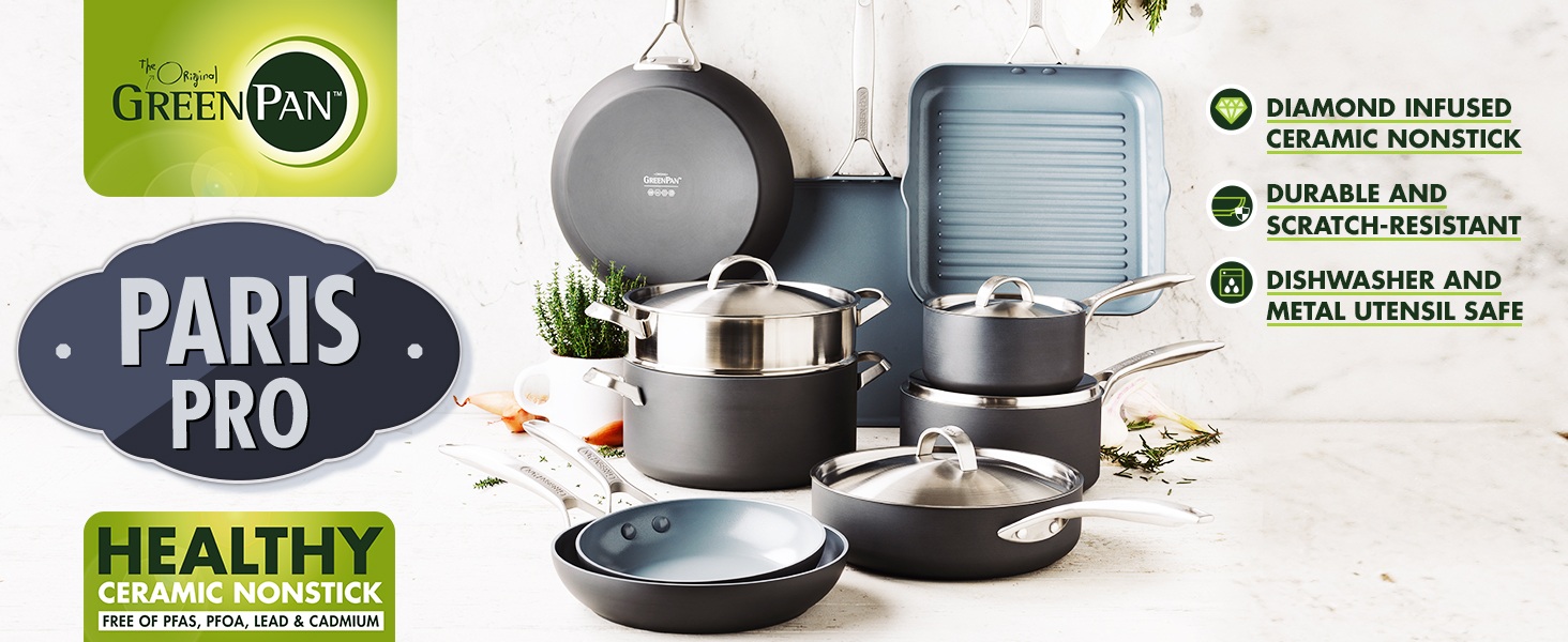 GreenPan, Paris Pro, Healthy Ceramic Nonstick, Pots and Pans, Cookware, hard anodized