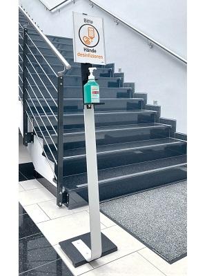 Dispenser di disinfezione con lavagna informativa