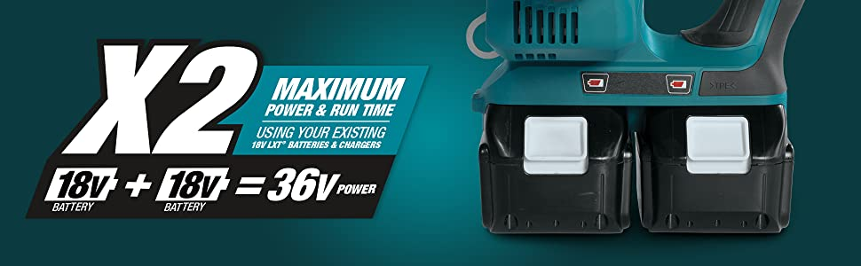 x2 18v 36v power maximum run time using existing batteries chargers dual two