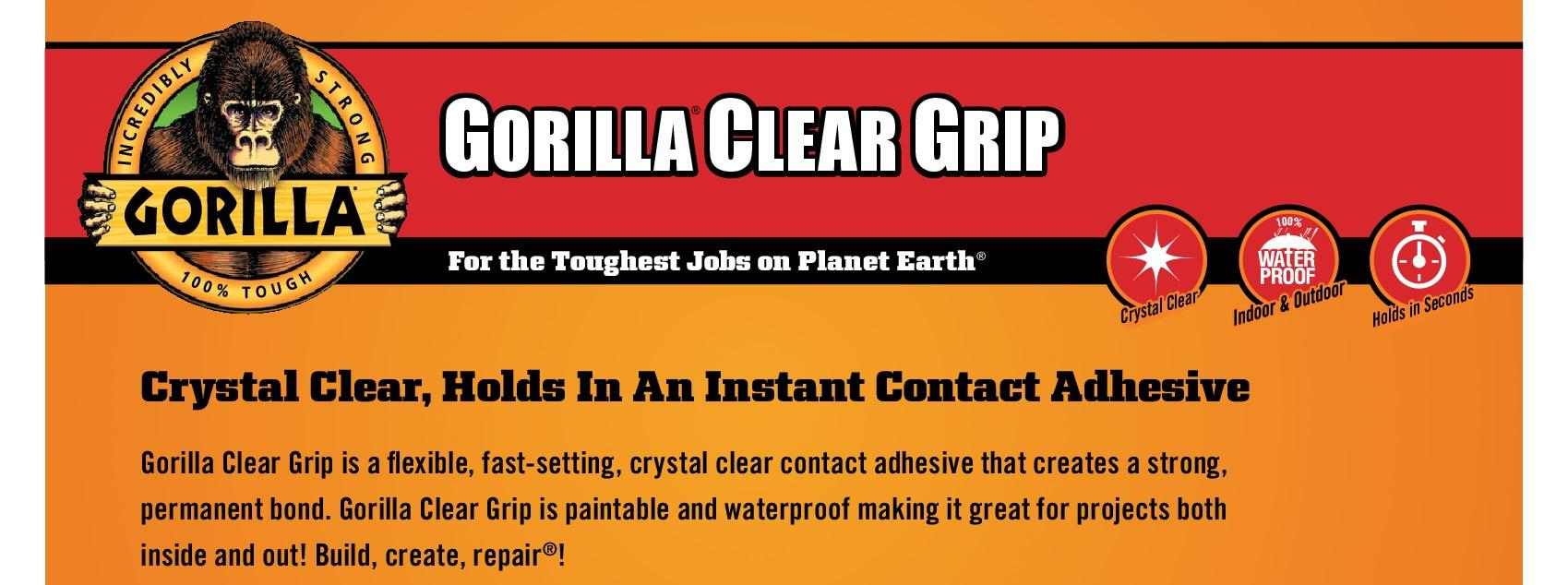 Gorilla Clear Grip Contact Adhesive, Waterproof, 3 ounce, Clear, (Pack of 1)