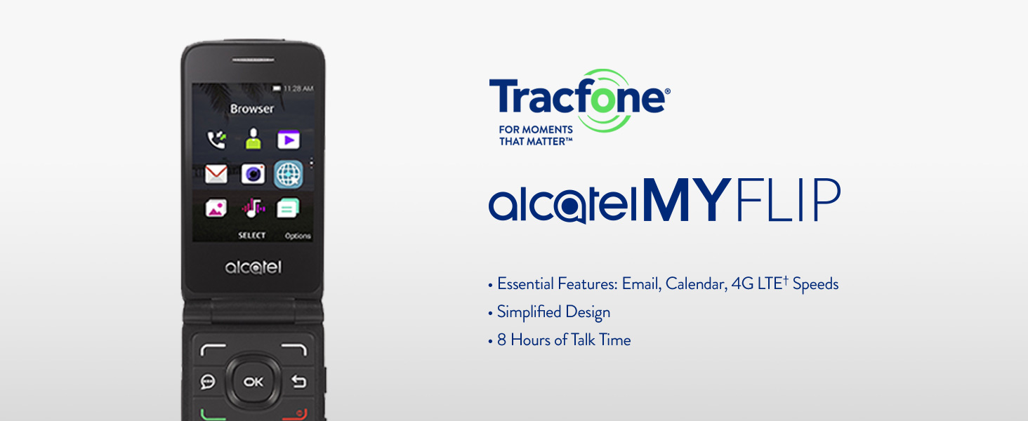 Tracfone Alcatel MyFlip 4G Prepaid Easy-to-Use Cell Phone for Seniors