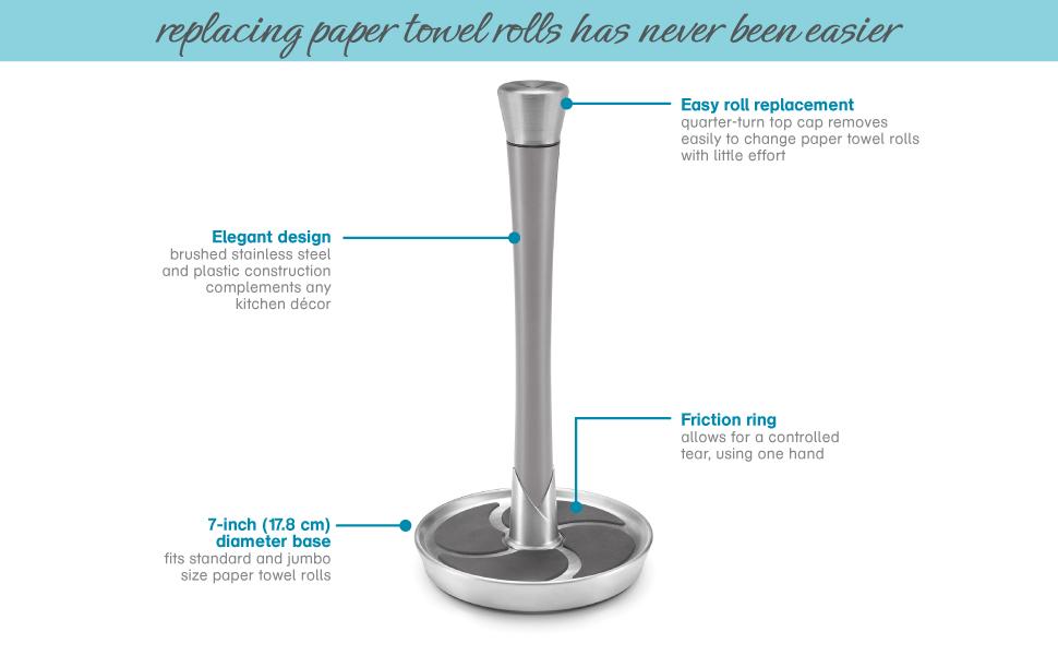 Fleur Single Tear Paper Towel Holder Details