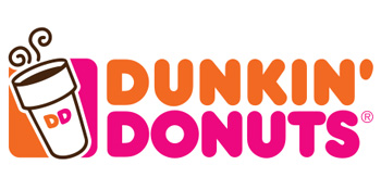 The famous Dunkin Donuts orange and pink logo with an illustrated cup of hot coffee