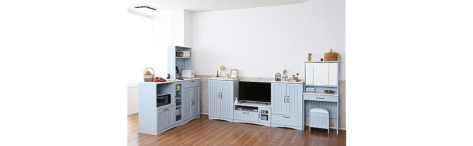 フレンチカントリー 家具 シリーズ カントリー シャビー 水色 ブルー テレビ台 キャビネット チェスト ドレッサー キッチンカウンター カップボード