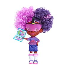 hairdorables, youtube show, collectible doll, kali, purple hair, pink hair, coding, techonology